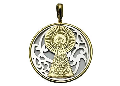 Medalla Virgen del Pilar en Plata de Ley Cubierta de Oro de 18kt