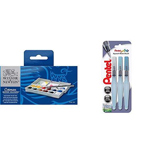Winsor & Newton acquerelli Cotman Confezione Tascabile Sketchers 12 mezzi Godets & Pentel Xfrh Aquash Water Brush Pennello con Serbatoio Riempibile 3 Pezzi Punta Fine/Media/Grande