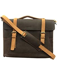 Chalk Factory Heavy Leather Messenger Bag Custom Made For Dell Vostro 15 3546 15.6-inch Laptop #HNDL - 2 Color...