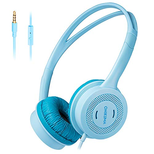 WSJ Kopfhörer für Kinder, Schüler-Kopfhörer, Computermusik-Kopfhörer mit Mikrofon,Blue