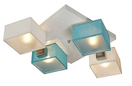 Deckenlampe - Wero Design Barsa-017D - Moderne Deckenleuchte, Leuchte, Holz, LAMPENSCHIRME MIT BLENDEN, 4-flammig (WEIß/Türkis TRANSPARENT)