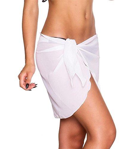 Hippolo Frauen Strandkleid Sling Strand Sarong Bikini Vertuschungen Wrap Pareo Röcke Handtuch Open-Back Bademode (Weiß) (Pareo Weiß)