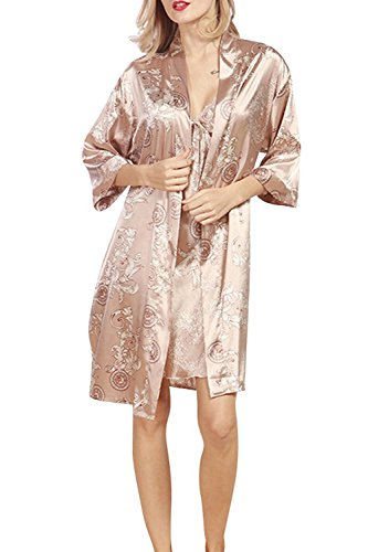 Pigiama da donna lungo in raso con set di soffietti da notte in morbido vestito da notte da notte Cammello