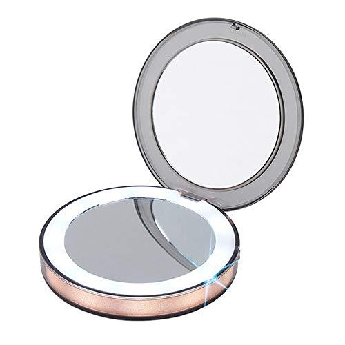 Mini Schminkspiegel Make up Taschenspiegel Beleuchteter Kosmetikspiegel 1X/3X Vergrößerungsspiegel...