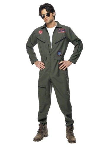 Original Top Gun Kostüm Topgun Pilotenkostüm oliv Gr. 48/50 (M), 52/54 (L), 56/58 (XL), Größe:Large
