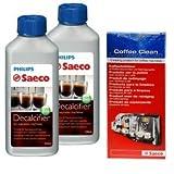 Reinigungs / Pflege - Set von Saeco für Kaffeevollautomaten, Kaffeeautomaten(M, 2 Flasche Saeco )