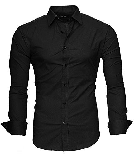 Kayhan uni camicia slim fit, black (m)