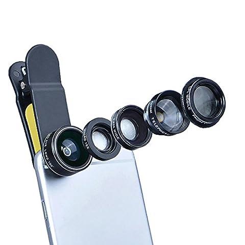 5 in 1 HD-Kamera-Objektiv-Kit - iParaAiluRy Universal-Professional Phone-Objektiv, einschließlich 198 Grad Fisheye-Objektiv 0.63x Weitwinkelobjektiv 15X (Nuovo D & G Degli Occhiali)