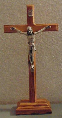 Standkreuz 23 cm, Kruzifix, Holzkreuz Olivenholz