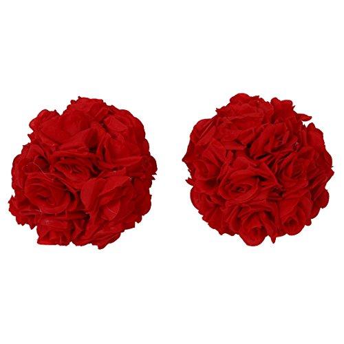 XZANTE 8 Zoll(20Cm) Wedding Dekorationen Künstliche Rose Seidenblume Ball Mittelstücke Minze Dekorative H?ngende Blume Ball Wein (Rot)