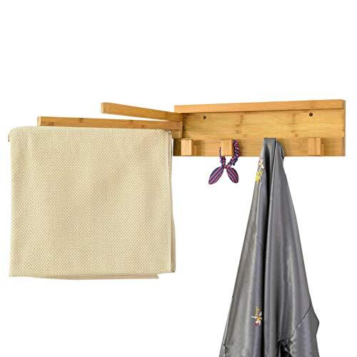 SoBuy® FHK11-N Handtuchhalter mit 3 Armen 180° drehbar Handtuchstangen Badetuchhalter mit 4 Haken Handtuchhaken zur Wandmontage, BHT ca.: 40x12x3cm