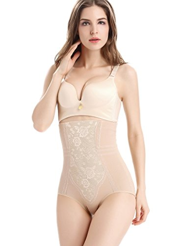 RIEMTEX Shapewear Damen Miederhose Bauchweg Unterwäsche Body Shaper Dessous Schwangerschaft (Herstellergröße XL entspricht Deutscher Gr.: 40, beige) (Body Slip Shaper)