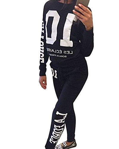 Donna Tuta Da Ginnastica Jogging Tuta Sportiva Fitness Sport Felpa e Pantaloni Nero L