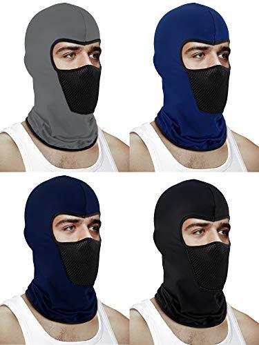 Blulu 4 Stücke Sturmhaube Gesichtsmaske Motorrad Winddichte Sonnenschutz Staubmaske Atmungsaktive Vollgesichtsmaske für Outdoor Aktivitäten (Farbe Set 1)
