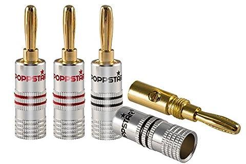 Poppstar 4x Bananenstecker, Bananas für Lautsprecherkabel (bis 6 mm²), AV Receiver, 24k vergoldet (2x schwarz, 2x rot)