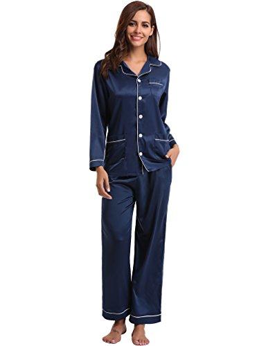 Aibrou Damen Herbst Klassische Schlafanzug Satin V-Ausschnitt Zweiteiliges Pyjama Nachtwäsche Set Blau XL