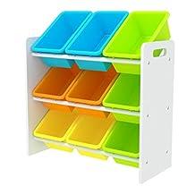 Kids' Toy Storage Organizer with 9 Plastic Bins, Small