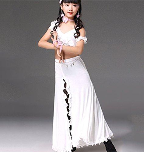 HUOFEINIAO Kinder Bauchtanz Kostüm Indischer Tanz Praxis Kleidung Modenschau Kleid,White,M