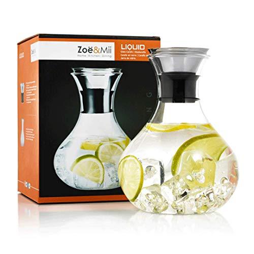 Zoë&Mii Premium 1,5l Glaskaraffe - Wasserkaraffe mit Edelstahl Deckel - Karaffe aus Glas - Glaskanne Geschenk als Wasserkrug und Wein Dekanter Krug - Gratis Getränke Rezeptkarten