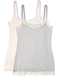 Iris & Lilly Women's Body Natural Lace Trim Vest, Pack of 2