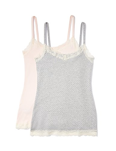 IRIS & LILLY Camiseta de Tirantes con Encaje Body Natural para Mujer, Pack de 2, Multicolor (Soft Pink/Grey), X-Small