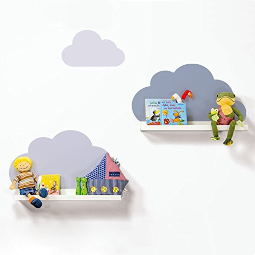 Limmaland Wandtattoo Wolken passend für Deine IKEA RIBBA / MOSSLANDA Bilderleisten (Farbe Blau) - Babyzimmer Kinderregale