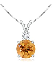Silvernshine Women's 1.20 Ct Round Citrine V-Bail Pendant With Sim. Diamond In 14K White Gold Fn