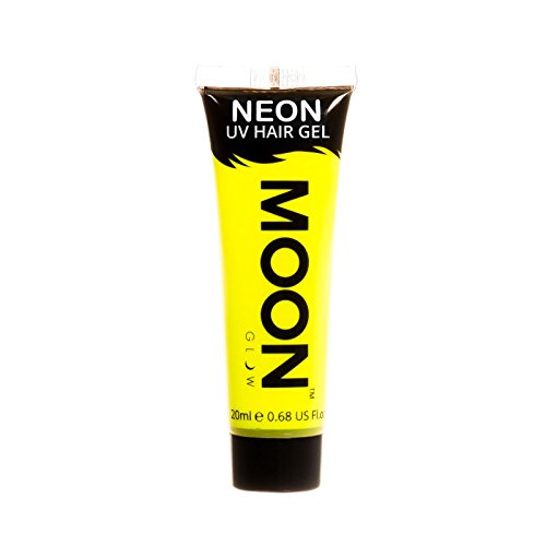 Moon Glow - Gel para el Cabello Neón UV - Intenso Amarillo 20 ml - ¡Péinate de punta y brilla!
