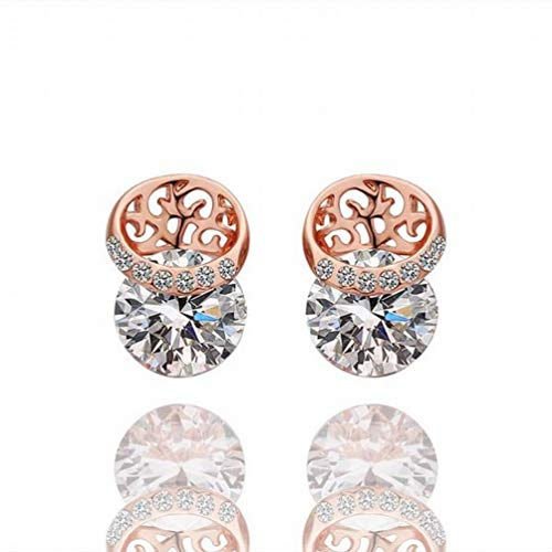 W-E Ornament Eco Rose Silber Ohrstecker/Frauen/Silber Glänzend/Diamant/White Crystal/Crystal Transparent/Crystal Element Ohrringe, a -
