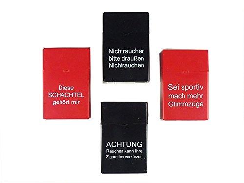 582187WU, 4 Stück Automatik Zigaretten Box mit flotten, frechen Sprüchen, 4 verschiedene Modelle im Sparset, Zigarettenetui, Zigarettenschachtel, Zigarettendose