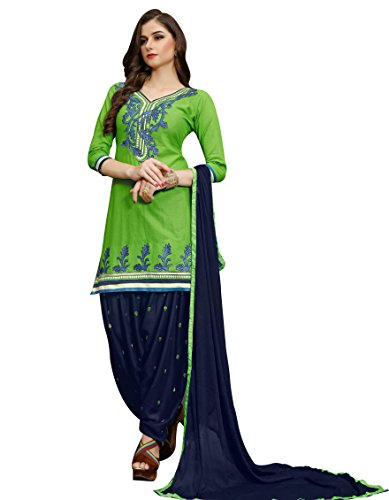 Aadhya Creartion Embroidred Green Colour Cambric Cotton Regular and Party wear Punjabi...