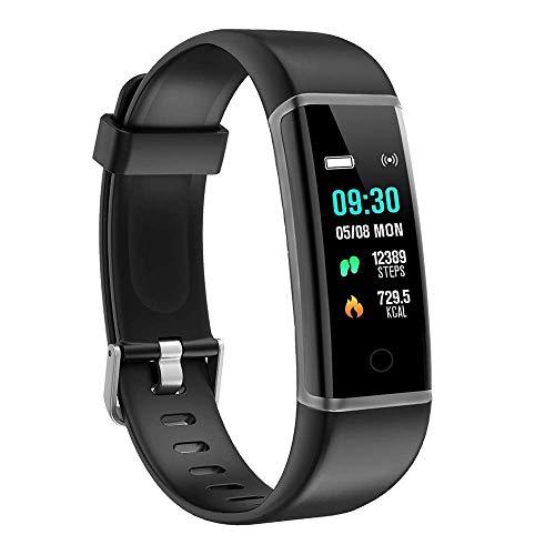 BingoFit Fitness Armband Uhr, Wasserdicht IP67 GPS Fitness Tracker Farbbildschirm Aktivitätstracker Schrittzähler Uhr mit Stoppuhren Vibrationsalarm Anruf SMS Beachten für Damen Herren Kinder