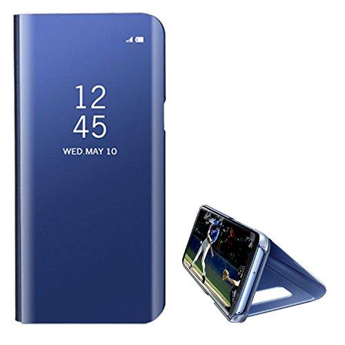 Hancda Hülle für Huawei P10 Lite [Nicht für P10], Spiegel Handyhülle Hart Plastik Flip Case Hüllen Spiegel Standfunktion Schutz Lederhülle Cover Dünn Handytasche für Huawei P10 Lite,Blau