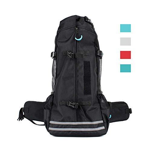PETHOMEL Hundeträgerrucksack, Hundeträgerrucksack Für Small Medium Dog Bag - Atmungsaktiv Reflektierend Verstellbarer Hundeträgerrucksack Für Fahrräder Reisen Wandern Camping,Black,M -