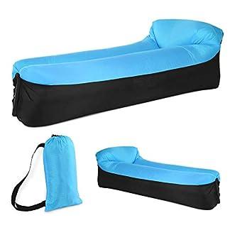 EEM Sofá Inflable con colchoneta de Aire, colchón de Aire en Forma de U Sofá sofá Azul, a Prueba de Agua y Anti- Aire con Fugas Inflable Ligero de Aire para Acampar