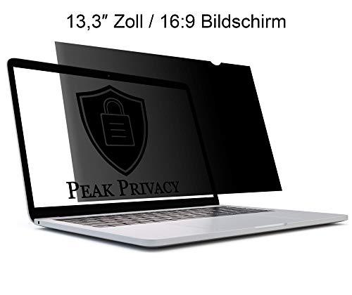 Peak Privacy - Premium Blickschutzfilter | Privacy Filter | Sichtschutz-Folie für Laptop & Notebook (13,3″ Zoll / 16:9 Bildschirm) -