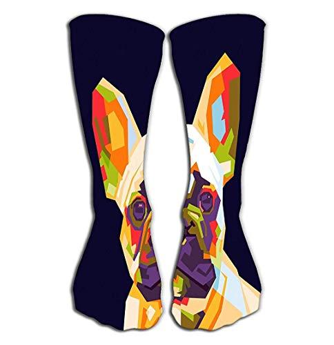 Jxrodekz Outdoor Sports Men Women High Socken Stocking French Bulldog WPAP pop Art Colorfull French Bulldog WPAP Style Tile Length 19.7