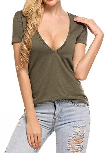 Bluse Kurzarm Damen T-Shirt V-Ausschnitt Baumwolle Sommer Tops Sexy Oberteil Shirts