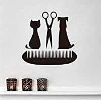 yiyitop Grooming Salon Scissors Comb Wall Decals Pet Shop Decor Cat and Dog Vinyl Wall Sticker 61 * 59cm