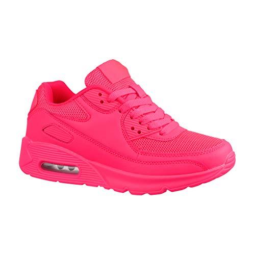 x Sneaker | Damen Herren Kinder Sport Laufschuhe | Turnschuhe | Chunkyrayan H001-Peach-37 ()