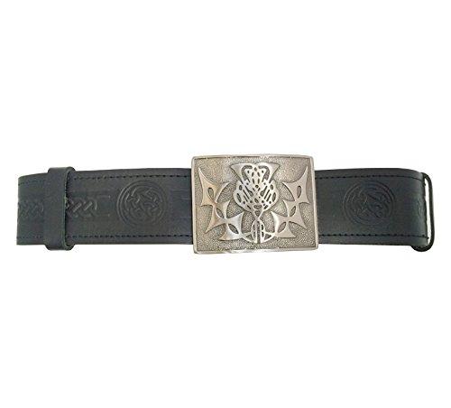 TARTAN TWEEDS Celtic Knot Hide Leather Kilt with Belt and Buckle Black Black