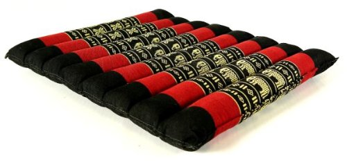 Kapok Sitzkissen 35x35x4cm, optimal als Stuhlauflage oder Meditationskissen, Bodenkissen bzw. Stuhlkissen (schwarz / rot / Elefanten)