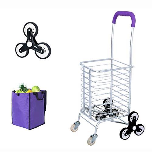 MZTYX De Tragbarer, kollabierbarer Einkaufswagen, Aluminum Alloy Trolley Shopping Cart, Buy One Get Three Little Gifts,I,30 * 38 * 57+38cm