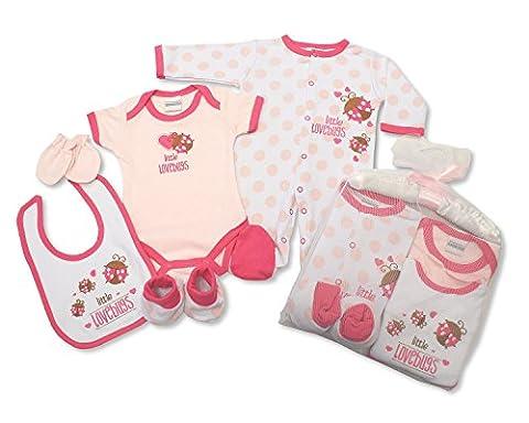 Geschenk-Set für Babys, Mädchen, 6-teilig, Little Lovebugs Design, Kleidungs-Paket mit