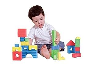 Edushape Textured Brightly Colored Foam Building Blocks, Set of 30