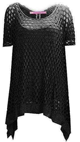 Celebmodellook - Femmes - Haut crochet résille ajourée papillon grande taille R32 Noir