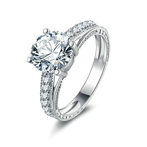 Aeici Verlobungsringe Diamant Sterlingsilber Ringe für Damen 4-Poliger Satz CZ Single Line CZ Silber-Graviert Größe 49 (15.6) -
