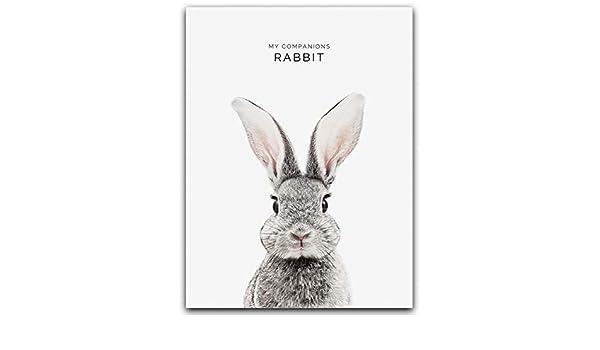 Heat Star Rabbit Ear Wall Art Canvas Poster Nursery Print Nordic Kid Room Decor