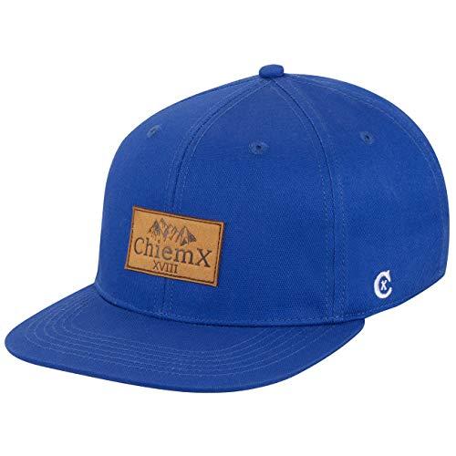 ChiemX Snapback Cap - Blau/Dunkelblau - aus Baumwolle und mit Kunstlederpatch - One Size Kappe für Herren und Damen