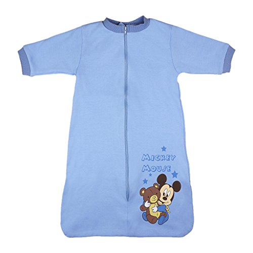 Disney Mickey Mouse Baby- und Kinder- Sommer-Schlafsack Langarm Baumwolle, UNGEFÜTTERT, GRÖSSE 56, 62, 68, 74, 80, 92, 98, 104 Farbe Hellblau, Größe 86 (Hellblau-strampler-hosen)